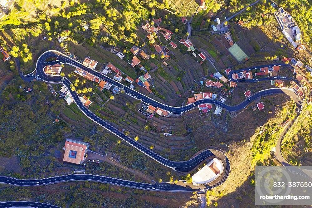 Serpentines and church San Antonio, Valle Gran Rey, aerial view, La Gomera, Canary Islands, Spain, Europe
