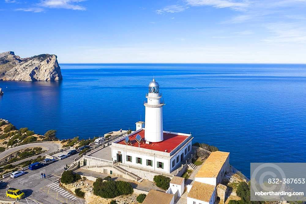 Lighthouse at Cap Formentor, Formentor peninsula, near Pollenca, drone shot, Majorca, Balearic Islands, Spain, Europe