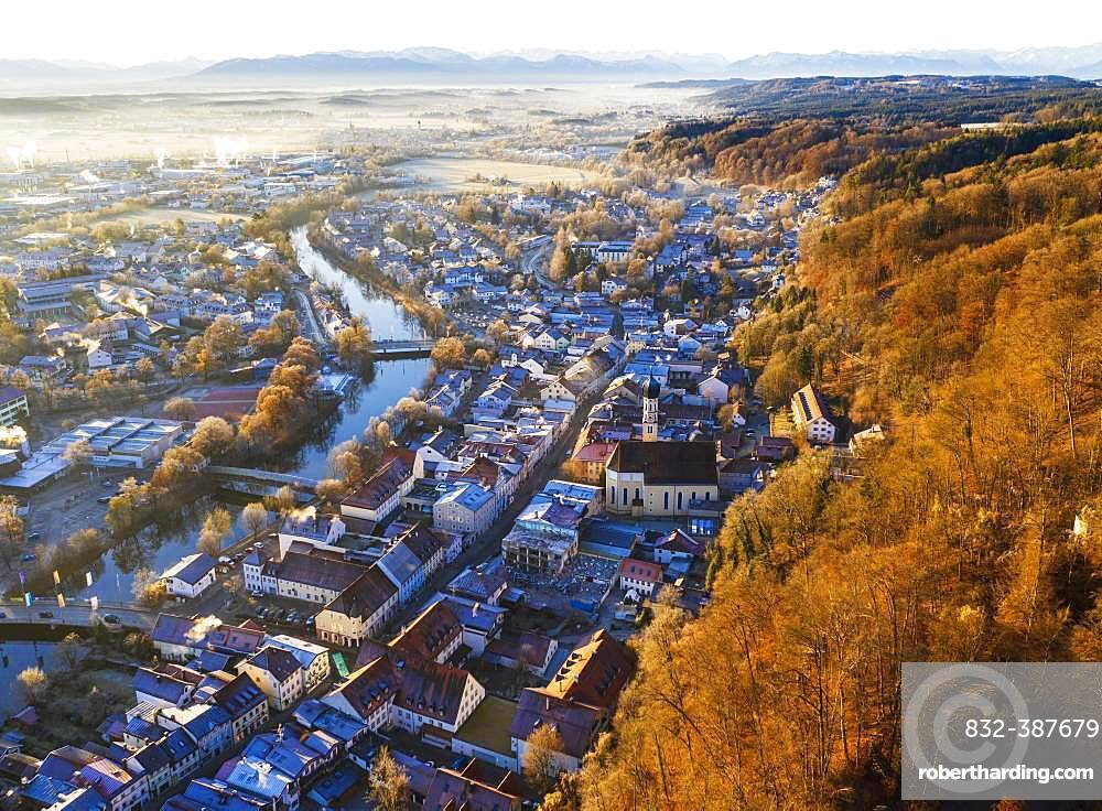 Old town Wolfratshausen with Loisach and mountain forest in winter, drone shot, alpine chain, foothills of the Alps, Upper Bavaria, Bavaria, Germany, Europe