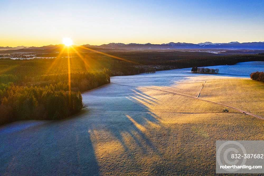 Sunrise, meadow landscape and forest near Jasberg near Dietramszell, drone picture, Alpine foreland, Upper Bavaria, Bavaria, Germany, Europe
