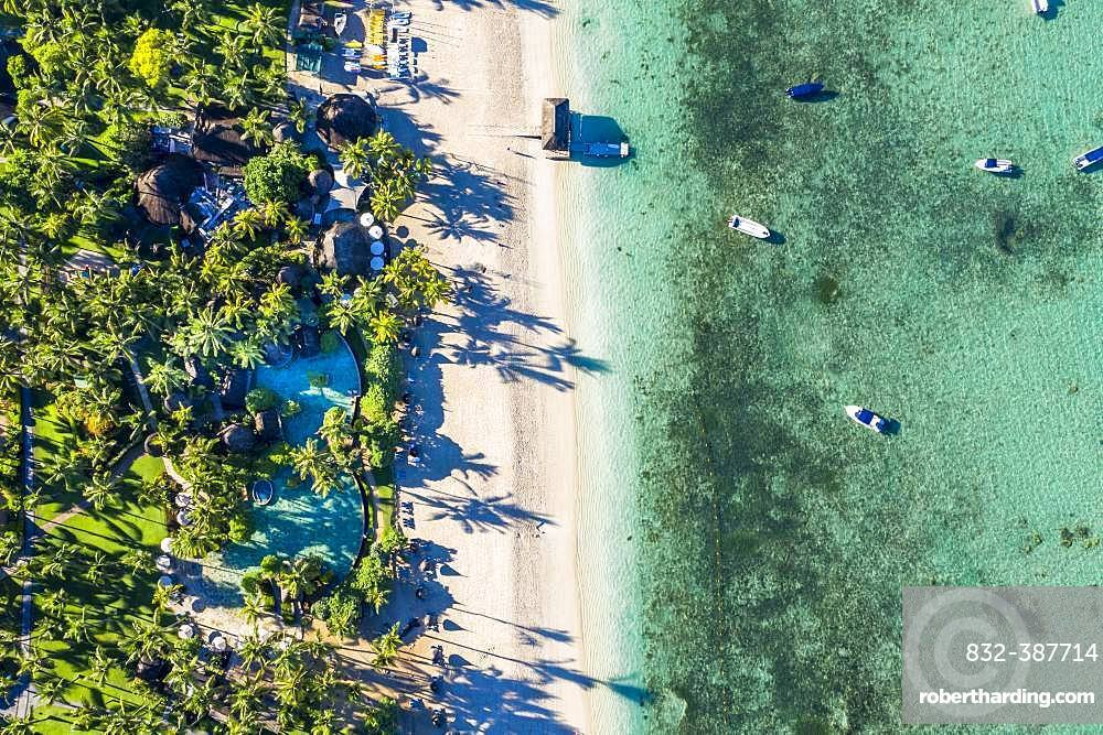 Aerial view, Idyllic palm beach, luxury hotel La Pirogue Resort & Spa, Flic en Flac, Mauritius, Africa