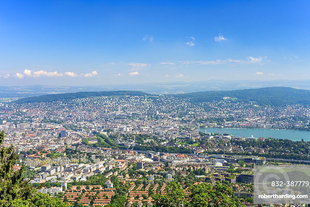 View from the Uetliberg to the city of Zurich and Lake Zurich, Top of Zurich, Canton Zurich, Switzerland, Europe