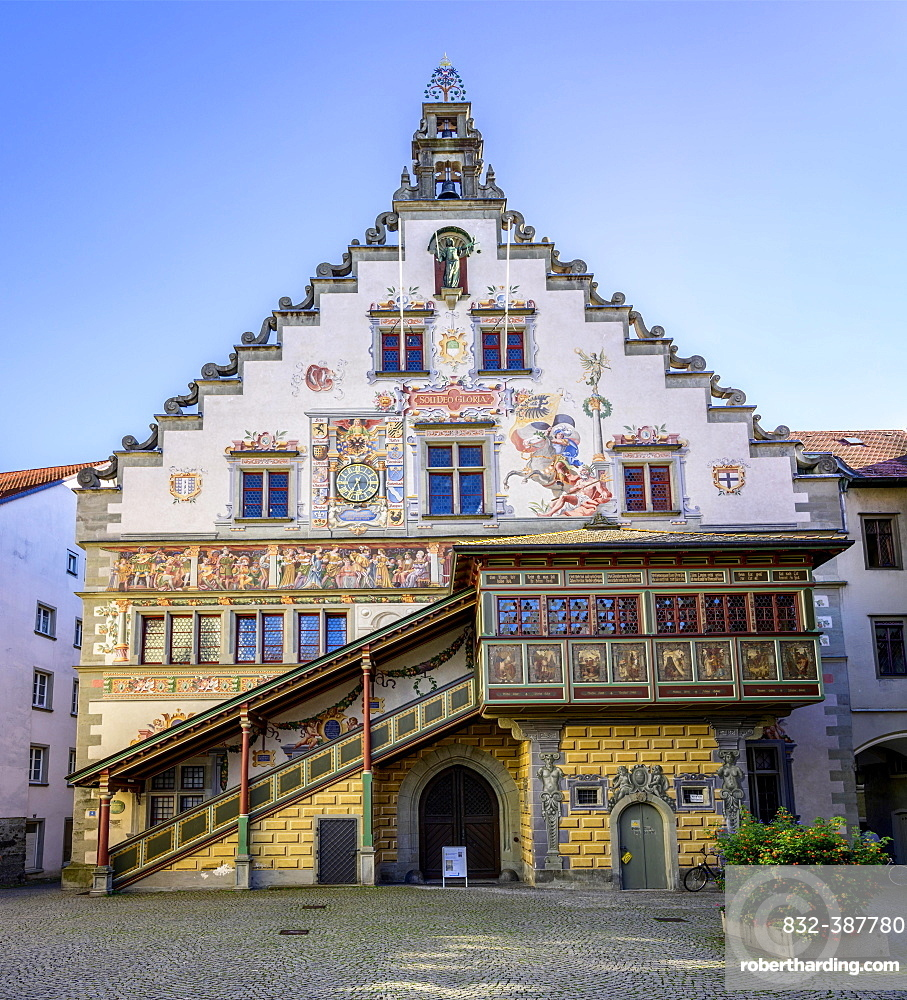 Colourful painted facade, Old town hall, Lindau island, Lindau on Lake Constance, Swabia, Germany, Europe