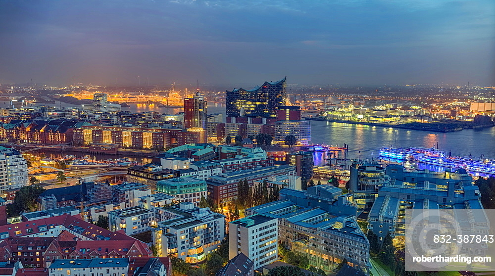 Aerial view, harbour area, Speicherstadt and Elbe Philharmonic Hall, at night, Hamburg, Germany, Europe