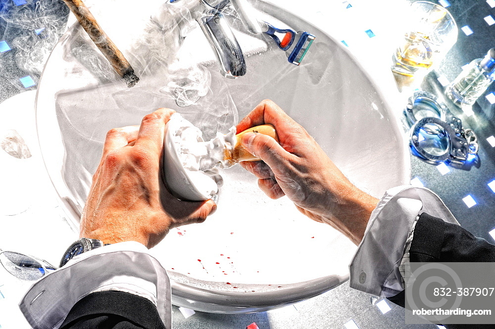 Man's hands, man shaves, touches shaving foam, Germany, Europe
