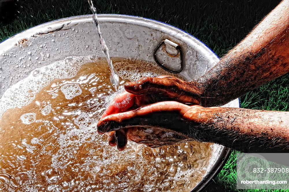 Man hands, washing hands, Germany, Europe
