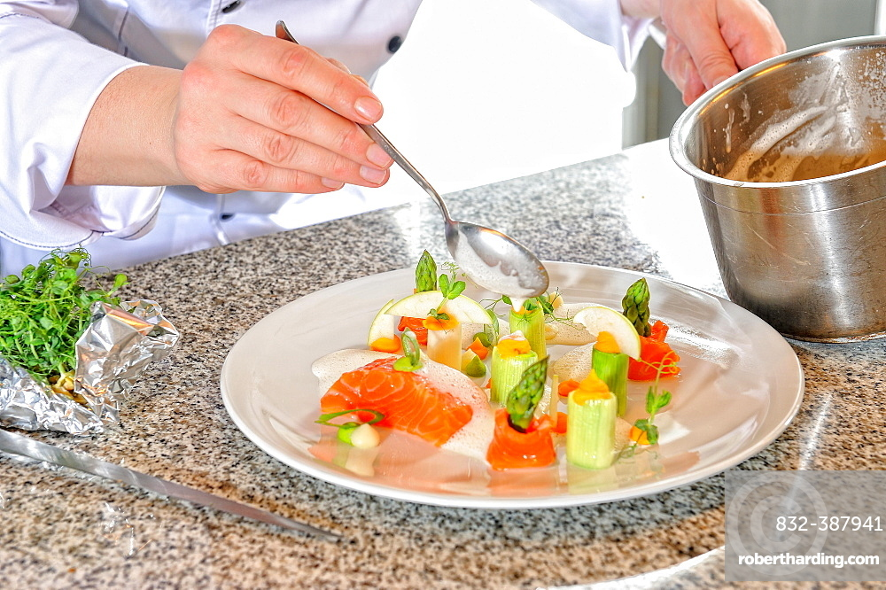 Chef preparing the main course, garnished salmon fillet, Germany, Europe