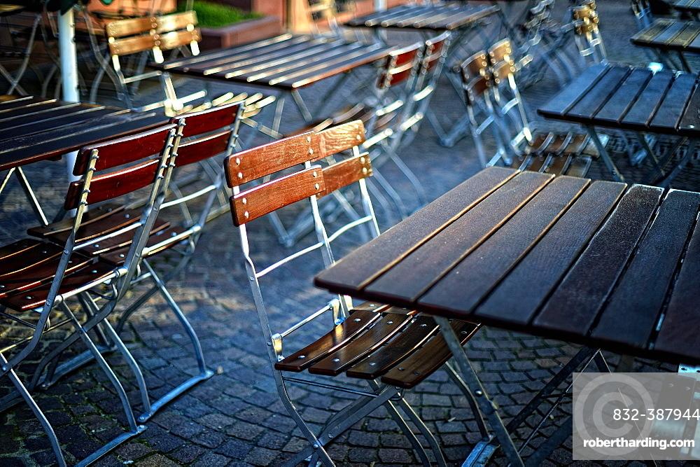 Empty tables in beer garden, Germany, Europe