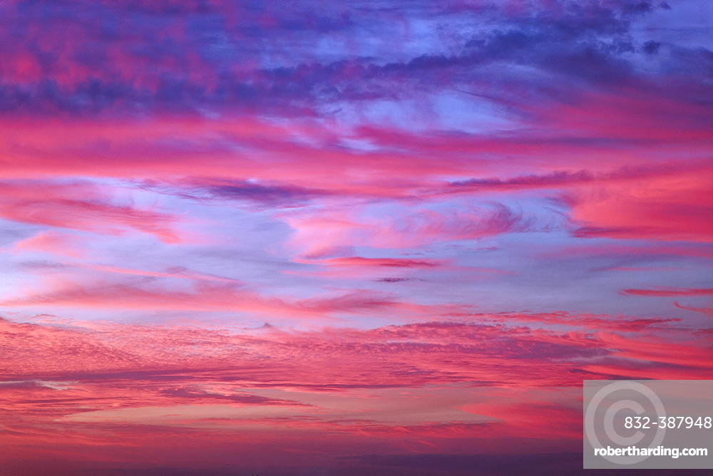 Sunset, red clouds in the blue sky, Franconia, Bavaria, Germany, Europe