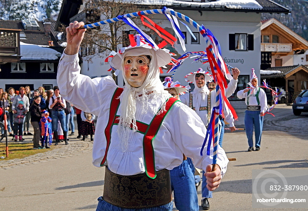 Typical mask in the Maschkera procession at carnival, Mittenwald, Werdenfelser Land, Upper Bavaria, Bavaria, Germany, Europe