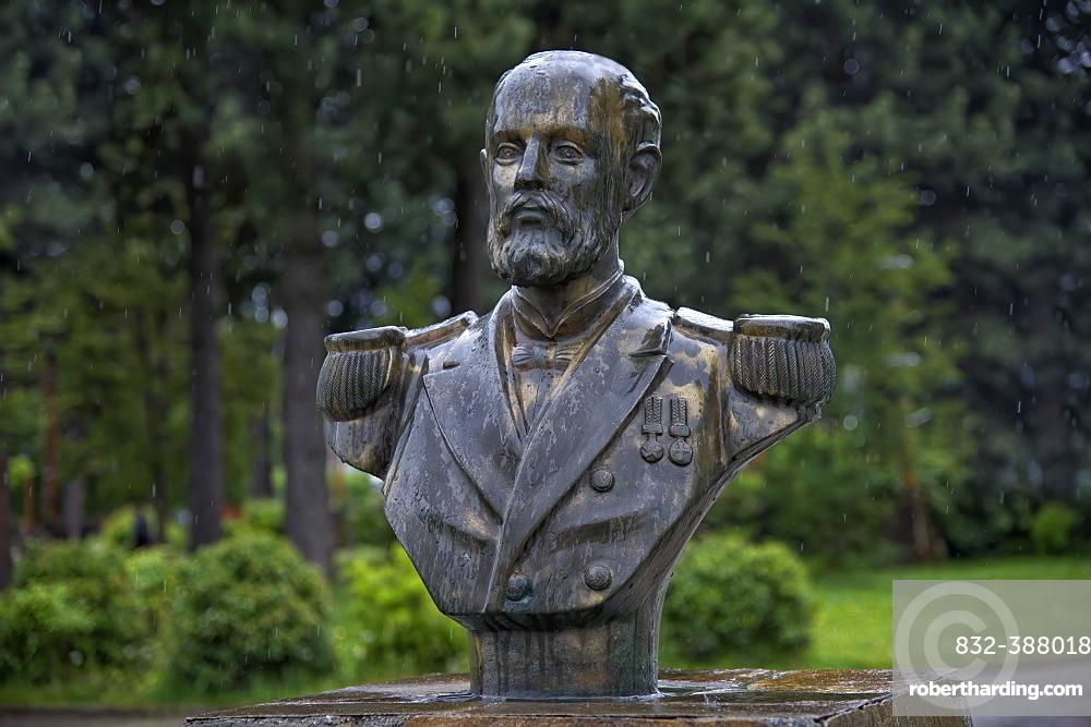 Arturo Prat Chacon Statue, Cochrane village, Pan-American Highway, Aysen Region, Patagonia, Chile, South America