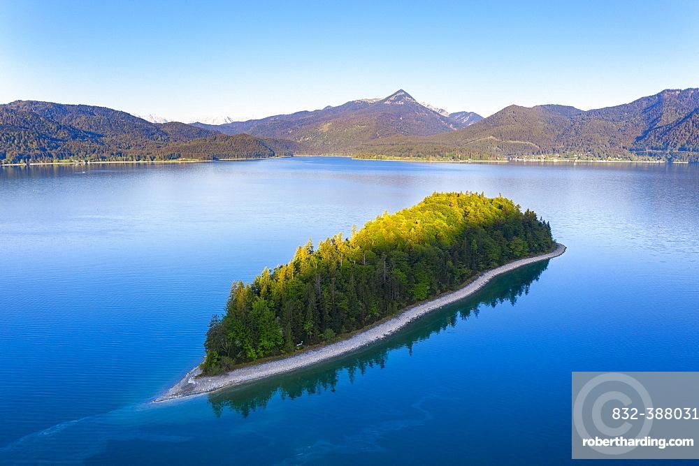 Island Sassau, Lake Walchensee, near Kochel am See, drone shot, Upper Bavaria, Bavaria, Germany, Europe
