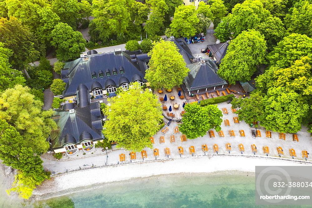 Beer garden and restaurant Seehaus am Kleinhesseloher See, English Garden, Munich, aerial view, Upper Bavaria, Bavaria, Germany, Europe