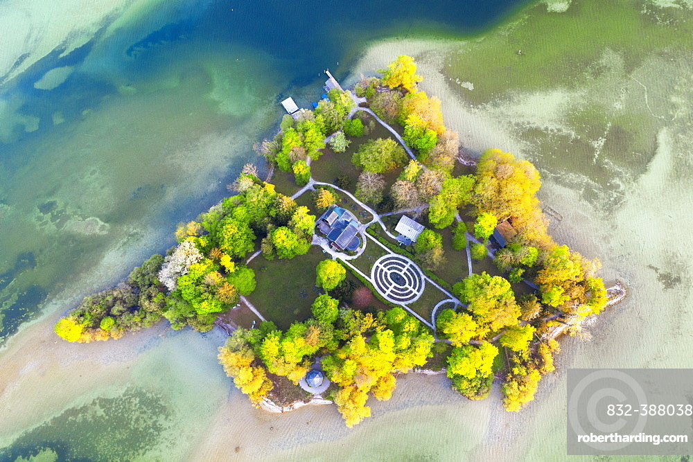 Castle with castle garden on the Rose Island from above, Starnberger See, near Feldafing, Fuenfseenland, aerial view, Upper Bavaria, Bavaria, Germany, Europe