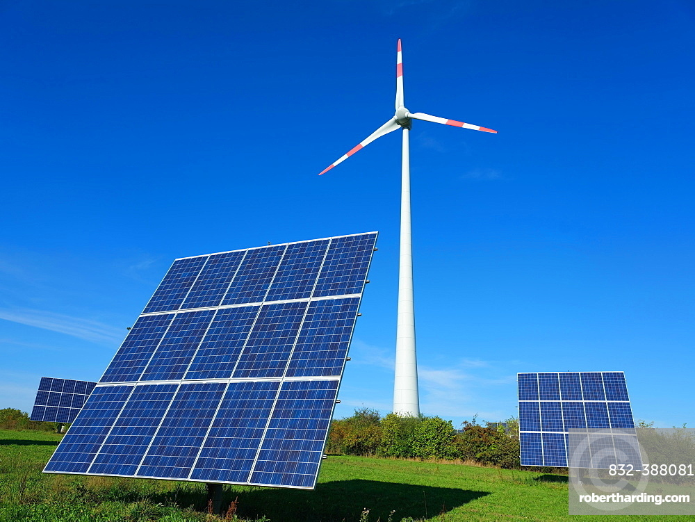 Windmill and photovoltaic system, Black Forest nature park Park Middle-North, drone recording, Alpirsbach, Baden-Wuerttemberg, Germany, Europe