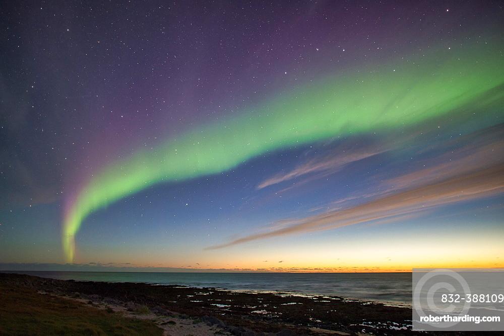 Northern Lights (Aurora borealis), Latravik Bay, near Latrabjarg, Westfjords, Iceland, Europe