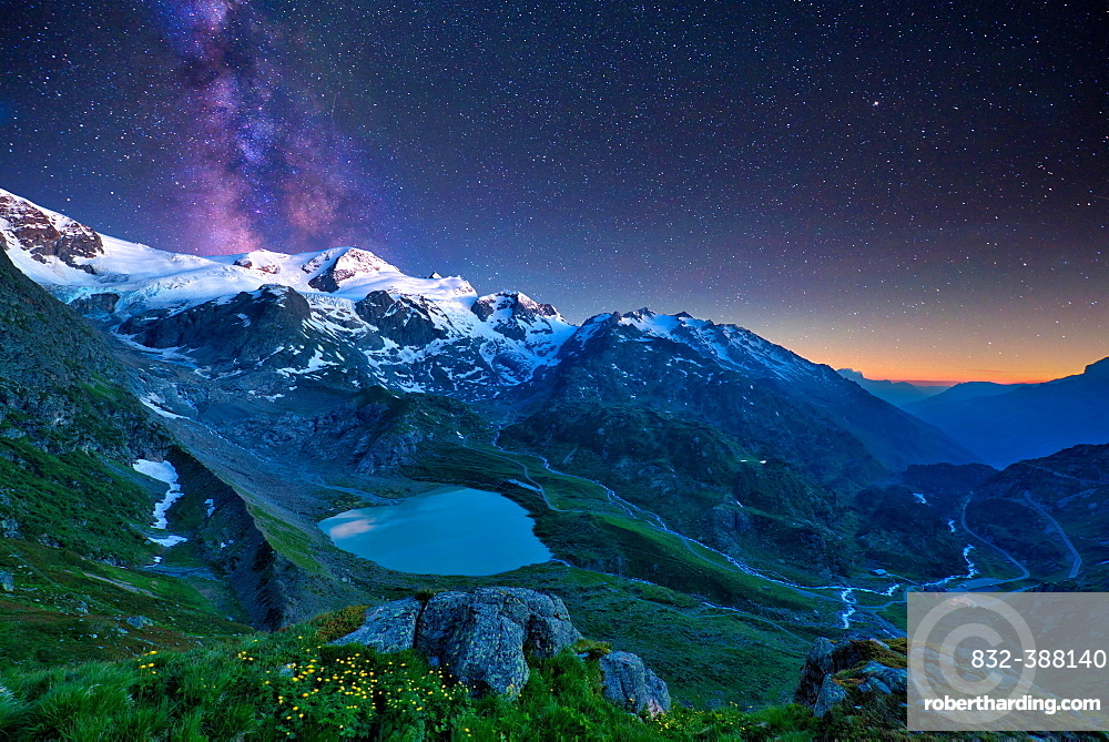 Starry sky with milky way at Sustenpass, Steisee and Gadmental, Canton Bern, Switzerland, Europe