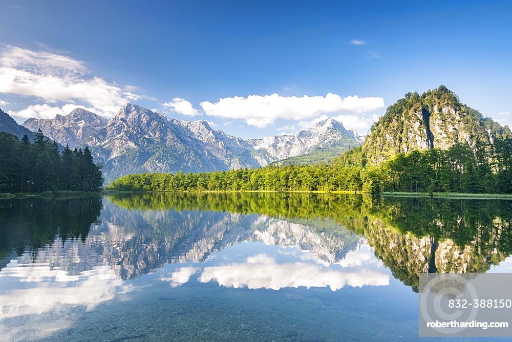 Almsee with reflection, Totes Gebirge, Gruenau, Almtal, Salzkammergut, Upper Austria, Austria, Europe