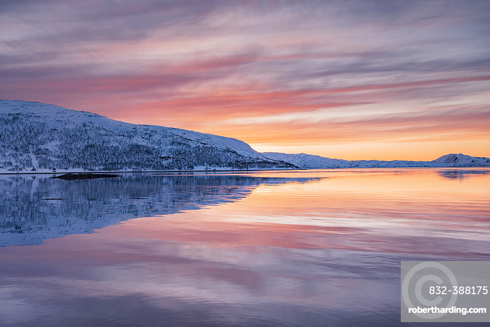 View over Skogs Fjord to Tines Fjaell, Tinesfjellet in winter with pink evening sky, Troms, Norway, Europe