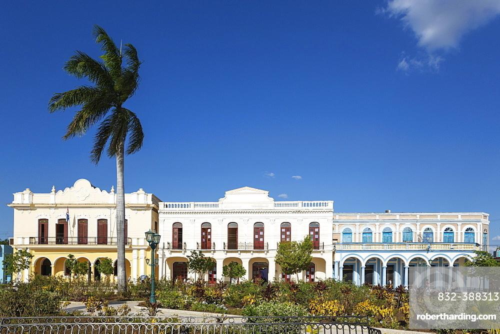 Restored historic buildings at the Parque Cespedes, Bayamo, Cuba, Central America