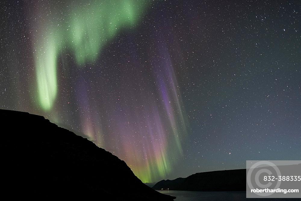 Northern Lights over Arnarfjoerour, Northwest Iceland, Iceland, Europe