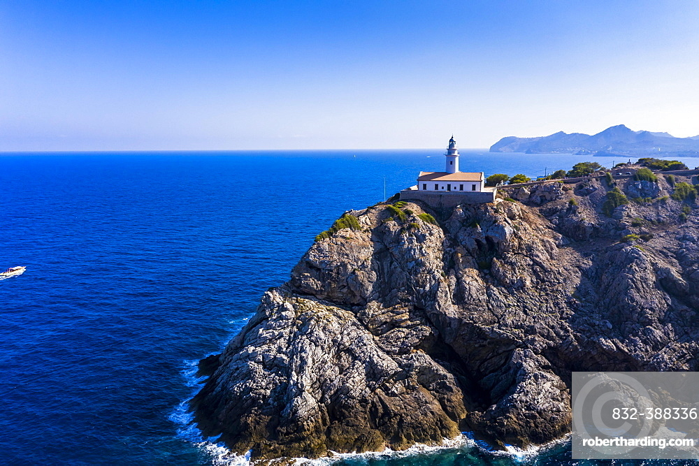 Aerial view, Lighthouse Far de Capdepera with cliffs, Cala Ratjada, Majorca, Balearic Islands, Spain, Europe