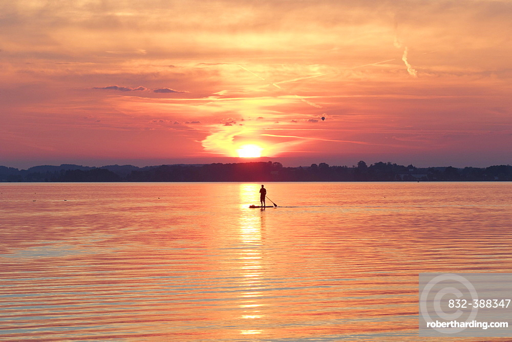 Sunset, Paddler on Standup-Paddle Board, Chiemsee, Upper Bavaria, Bavaria, Germany, Europe