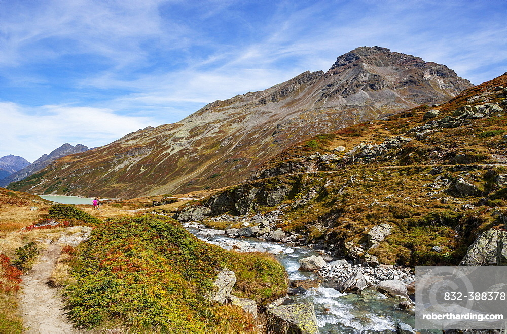 Hiking trail to the Klostertal, Bielerhoehe, Silvrettasee, Silvretta Stausee, Silvretta Group, Vorarlberg, Austria, Europe