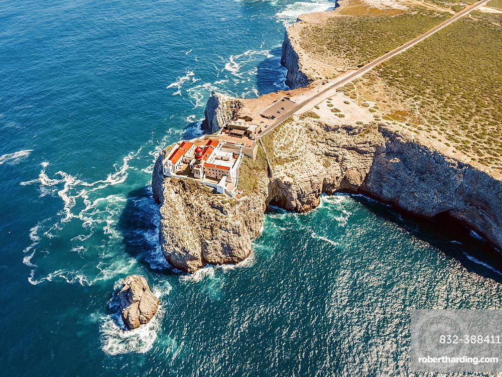 Aerial view, lighthouse on the cliffs, Saint Vincent Cape, Sagres, Algarve, Portugal, Europe