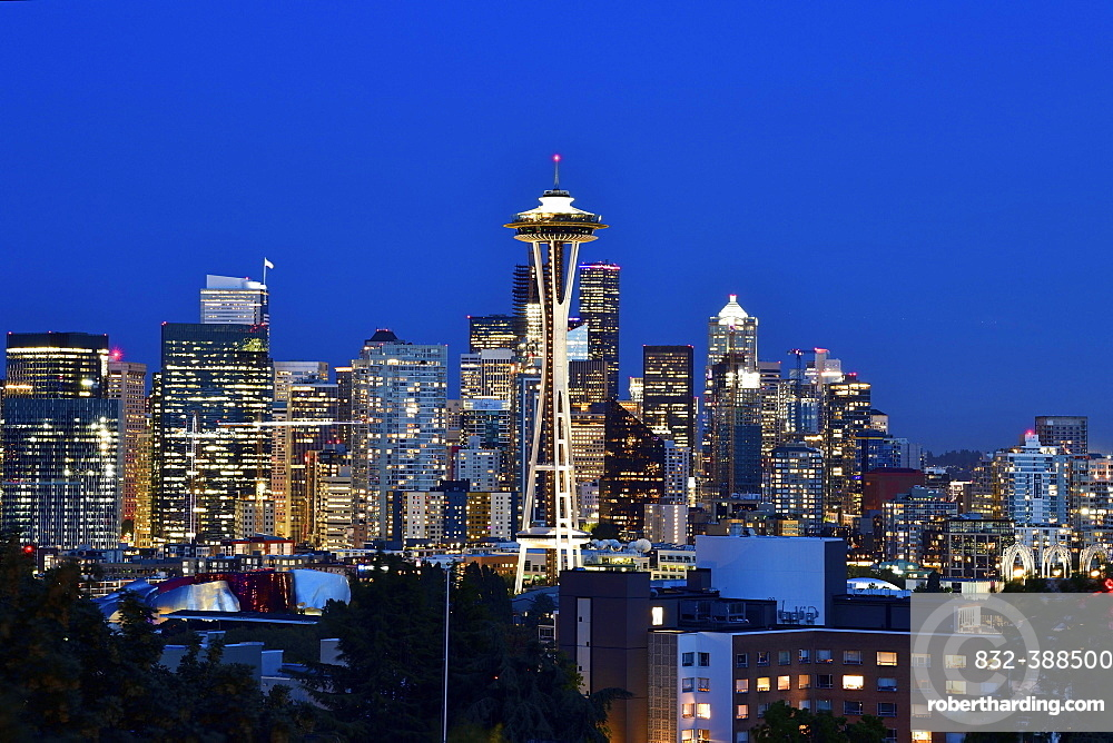 Night shot Skyline Financial District Seattle with Space Needle, Washington, United States of America, USA, North America