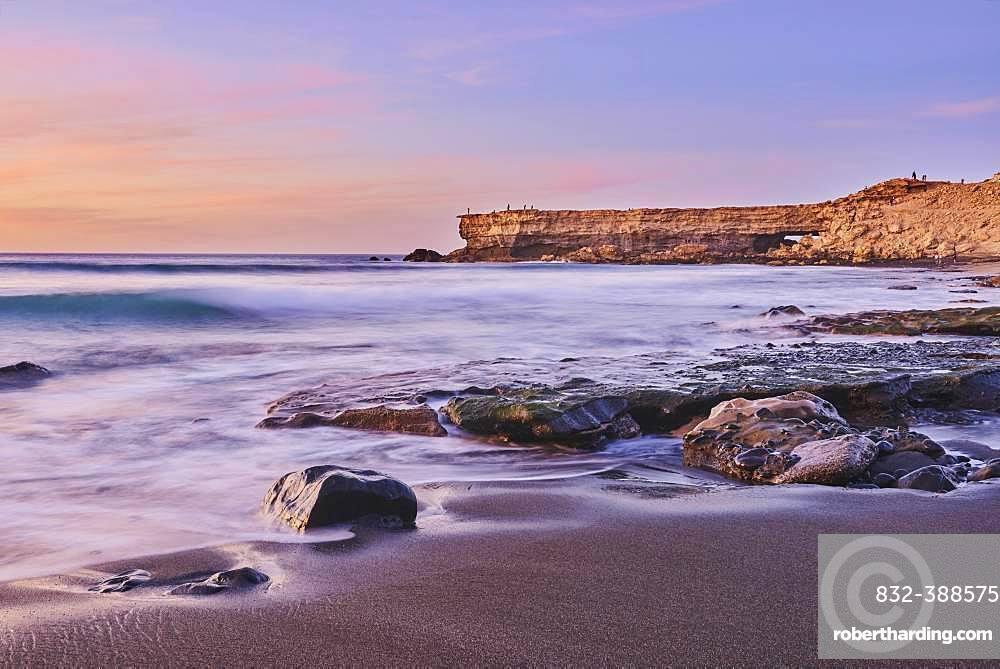 Viewpoint Mirador La Pared on the beach Playa de la Pared at sunset, Fuerteventura, Canary Islands, Spain, Europe