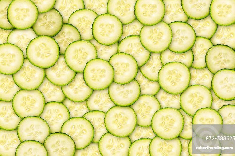 Cucumbers in slices, organic farming, background image, Austria, Europe