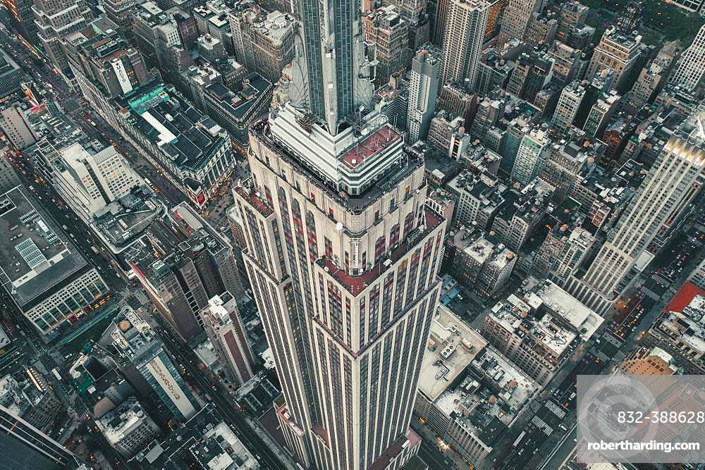 Drone shot, Empire State Building, Manhattan, New York City, USA, North America