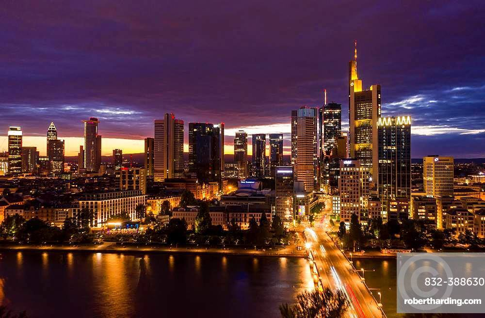 Nightly skyline with the Main River, Frankfurt am Main, Germany, Europe