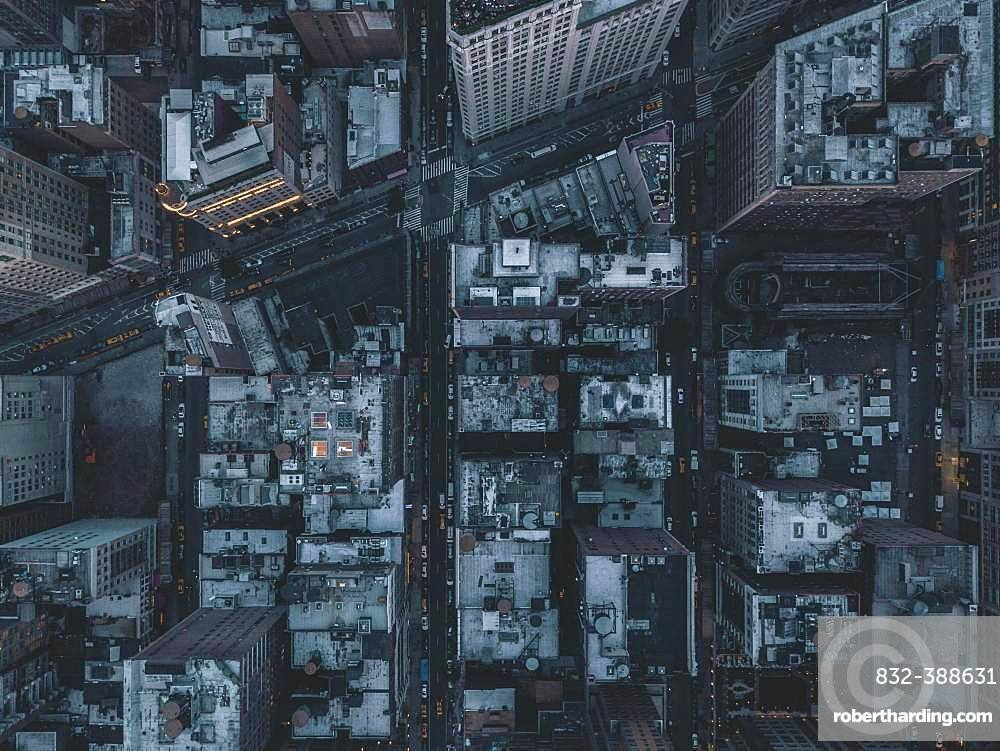 Drone shot, bird's eye view of the streets of Manhattan in the evening, New York City, USA, North America