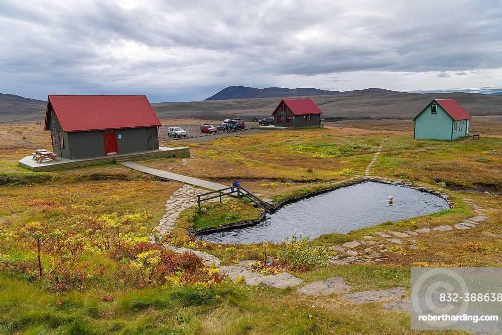 Laugafell highland huts with geothermal heated bath, near highland road Sprengisandur, highlands, Iceland, Europe