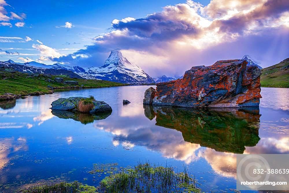 Matterhorn reflected in the Stellisee at sunset, Zermatt, Valais, Switzerland, Europe