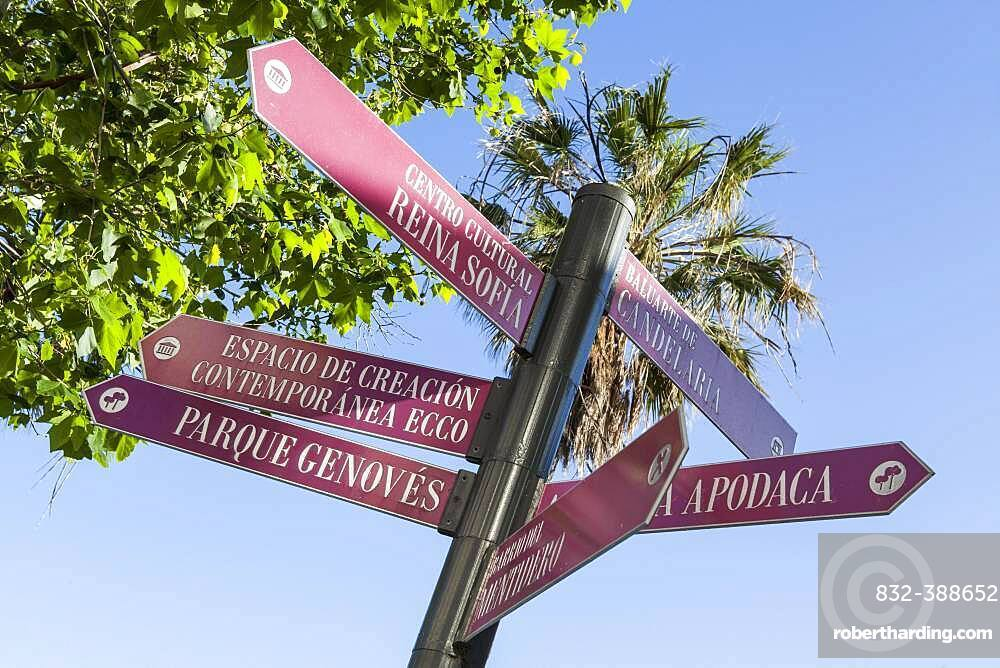 Signposting in the historic centre of Cadiz, Spain, Europe