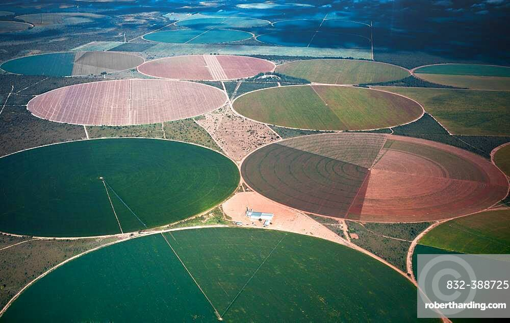 Soy, Corn, Cotton and Coffee irrigated plantations in the western state of Bahia, Brazil, South America