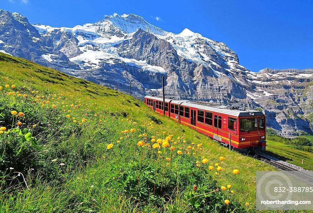 Jungfrau Railway at Kleine Scheidegg in front of the Jungfrau-Massif, UNESCO World Natural Heritage, Wengen, Jungfrau Region, Bernese Alps, Bernese Oberland, Canton of Bern, Switzerland, Europe
