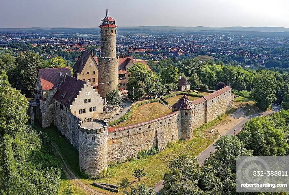 Altenburg, medieval hilltop castle at 400m, landmark of Bamberg, first documented in 1109, aerial view, Bamberg, Steigerwaldhoehe, Upper Franconia, Franconia, Germany, Europe