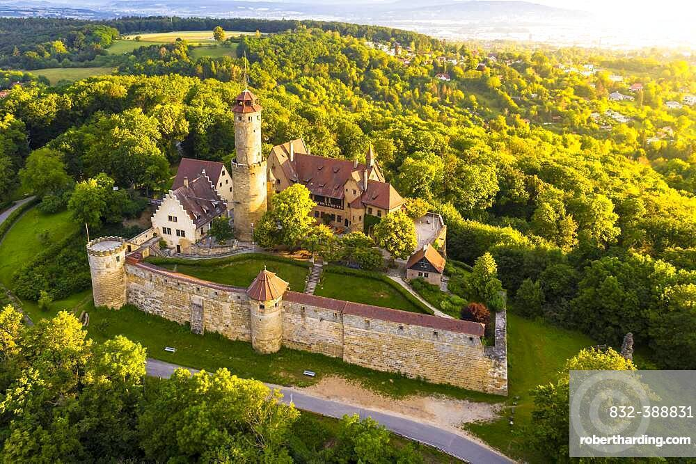 Drone photo, Altenburg, medieval hilltop castle, Bamberg, Steigerwaldhoehe, Upper Franconia, Franconia, Germany, Europe