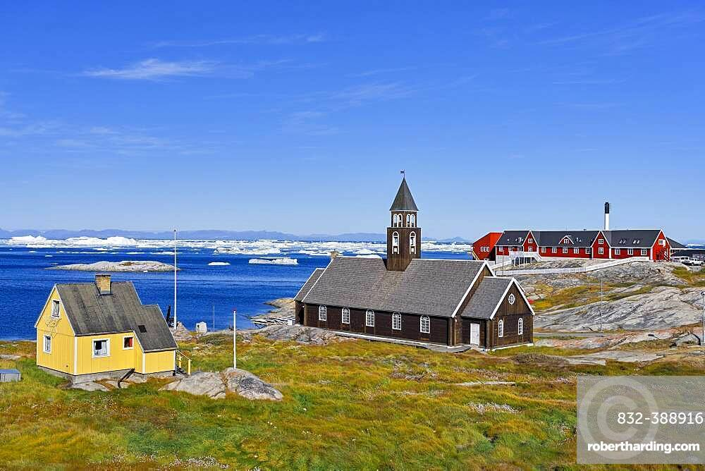 Zion Church and Hospital in Disko Bay, Ilulissat, West Greenland, Greenland, North America
