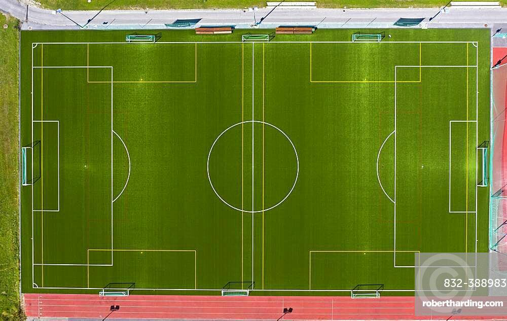 Football field with markings, from above, Saas-Fee, Valais, Switzerland, Europe