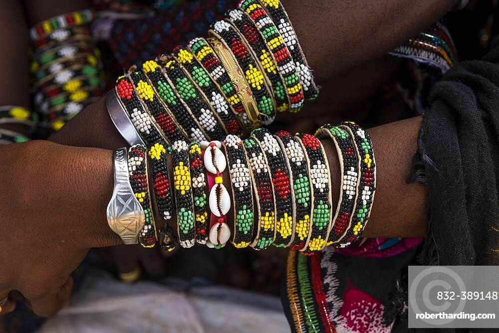 Close up of the bracelets, Gerewol festival, courtship ritual competition among the Woodaabe Fula people, Niger, Africa