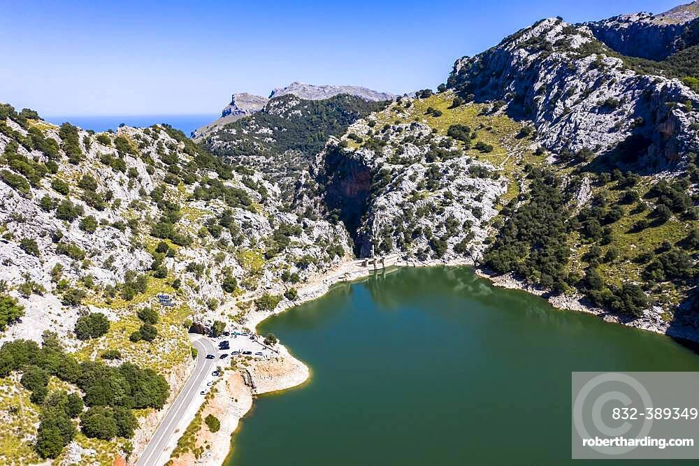 Aerial view of the reservoir, Embalse de Gorg Blau, Tramuntana, Majorca, Balearic Islands, Spain, Europe
