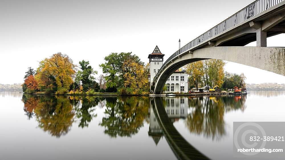 Autumn Island of Youth with Abbey Bridge in Treptower Park, Berlin, Germany, Europe