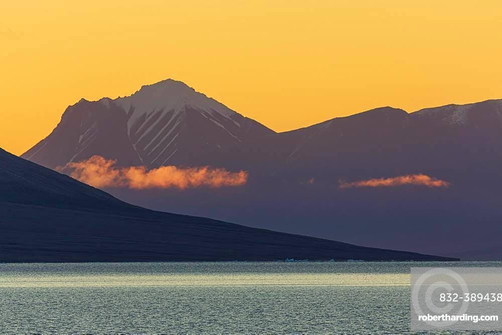 Sunrise in Fjord, Kaiser Franz Joseph Fjord, East Coast Greenland, Denmark, Europe