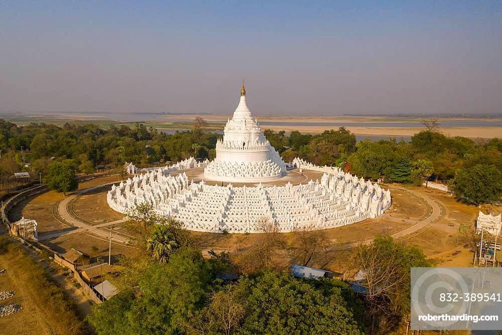 Aerial view, Hsinbyume Pagoda, Mingun, Myanmar, Asia