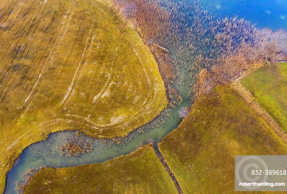 Natural course of the Zellerache river from the Irrsee, wet meadow, from above, drone photo, aerial view, Mondseeland, Salzkammergut, Upper Austria, Austria, Europe